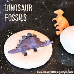 Salt dough dinosaur fossils. An easy dinosaur activity idea for kids thats simple enough for toddlers and preschoolers. Follow the simple salt dough recipe and use small dinosaur toys to make your fossils.