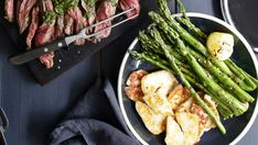This sensational side of grilled asparagus is the perfect accompaniment to a tender and delicious skirt steak and a cracking green salad for the perfect healthy summer dinner.