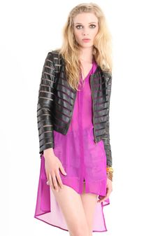 Between The Lines Faux Leather Jacket 54.00 at threadsence.com