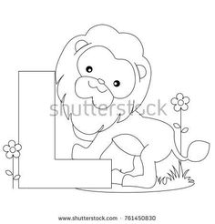 Animal Alphabet Coloring Book Illustration Outlined Stock