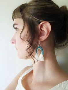 Macrame Boho Arch Tassel Earrings, Woven Yarn Jewelry, Turquoise Seafoam Rainbow by TheGentleCoast on Etsy