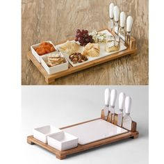 Porcelain cheese board on bamboo base with 2 porcelain square bowls and 4 pcs cheese knives with porcelain handles, Porcelain Cheese Board. Best Kitchen Knives, Cheese Knife Set, Toast Rack, Kitchen Organisation, Food Trays, Food Packaging Design, Wine Cheese, Gifts For Office, Charcuterie