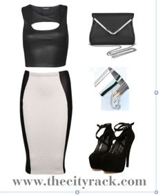 This elegant outfit is simple yet stunning and the ultimate in timeless chic. The monochrome pencil skirt has a high-fashion quilted design and leather-look panels to give it that flattering edge. Team with our sexy leather cut-out crop top and sky-high heels and finish with some glam silver jewellery and a classic black bag.