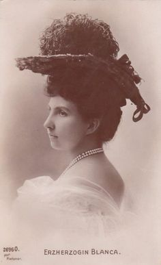 Enchanting Archduchess Blanca of Austria, Infanta of Spain, (1868-1949) was a daughter of  the Infante Carlos, Duke of Madrid, and his wife, Princess Margherita of Bourbon-Parma.  Blanca's family was exiled from Spain and relatively poor, but Blanca made a respectable marriage with Archduke Leopold Salvator of Austria.  They had ten children.