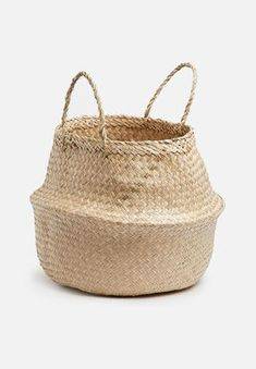 Both functional and stylish, this chic woven basket will not only help keep your place organised but also bring a charming natural look to your space. Use it for storing towels in the bathroom, newspapers or magazines in your living room. Home Decor Online, Home Decor Shops, Home Decor Accessories, Decorative Accessories, Hertex Fabrics, Storing Towels, Mr Price Home, Belly Basket, Black Bar Stools