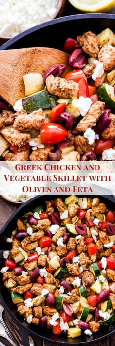A simple Greek marinade transforms the chicken into a flavorful, quick and easy, one skillet dinner! If you love Greek flavors then you'll love this Greek Chicken and Vegetable Skillet with Olives and Feta! Feta Chicken, Greek Chicken, Chicken Olives, One Pot Meals, Easy Meals, Runners Food, Clean Eating, Healthy Eating, Healthy Food