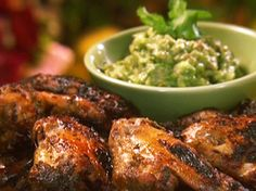 Lime Marinated Chicken Wings with Avocado Dip Recipe : Food Network - FoodNetwork.com