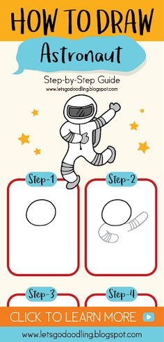 how to draw a cartoon astronaut