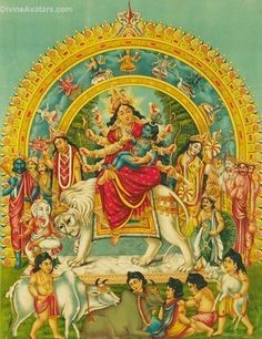 Very rare picture of Goddess Sakthi, holding infant Krishna in her hands.