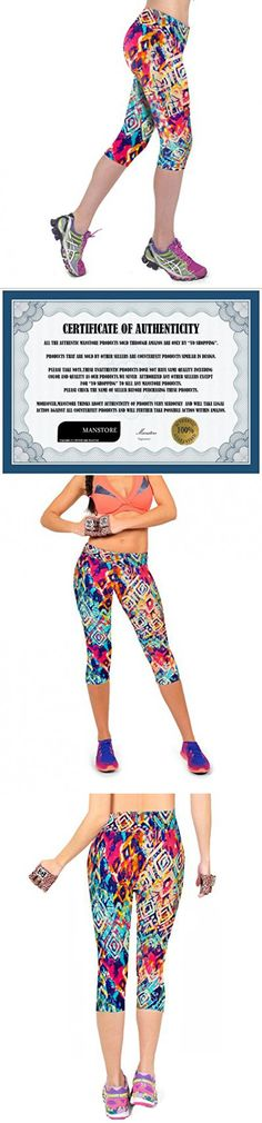 Manstore Women's Printed Active Workout Capri Leggings Fitted Stretch Tights C20 S/M