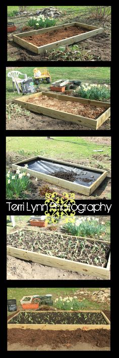 Built-up Flower Garden Box- Project to keep weeds out. First build a box. Next level the dirt. Then you will add the fabric lining to prevent weeds. Next fill with dirt. Then plant your bulbs. If you like add mulch around the base of the box. Enjoy!