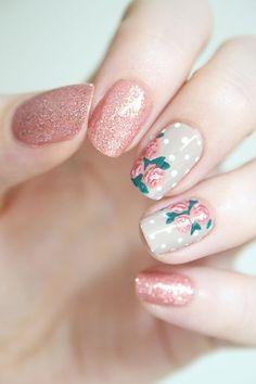 pastel nails with floral polka dot detail