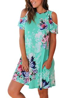Annflat Women's Summer Floral Print Cold Shoulder Casual Swing Tunic Dress With Pockets Womens Clothing Stores, Clothes For Women, Blue Summer Dresses, Casual Dresses, Floral Dresses, Short Sleeve Dresses, Short Sleeves, Cold Shoulder, Tunic