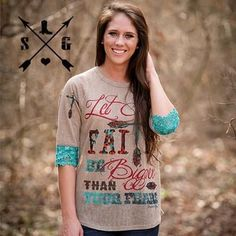 e10372517 Let Your Faith on 3 4 Sleeve Brown Shirt with Cross on Shoulders