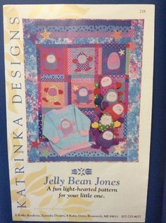 New Vintage Pattern Jelly Bean Jones Baby Quilt Toy Romper Clothes Doll Nursery   | eBay