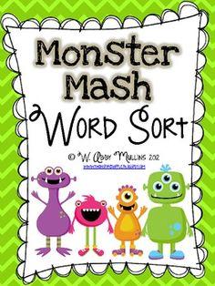 Monster Mash Word Sort - Babbling Abby - TeachersPayTeachers.com