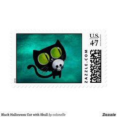 Black Halloween Cat with Skull
