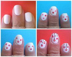Manicura de flores hechas con puntos (pictorial)... Dotted Flowers mani