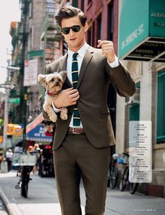 Because suit and puppy!! #fashion // #men // #mensfashion