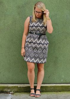 Black & White Pattern Dress >>> add a cardigan for a great summer look in the office