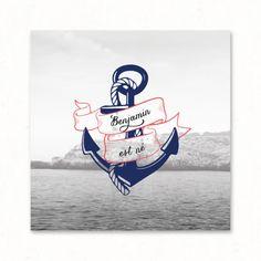 "Faire-part / Invitation naissance mixte personnalisé - ""Marin"" : original, vintage, bleu, rouge, ancre, mer, voyage, nautique - Paper and Love - www.paperandlove.be  / Custom birth invitation - ""Sailor"" : original, vintage, blue, red, sea, anchor, nautical - Paper and Love"