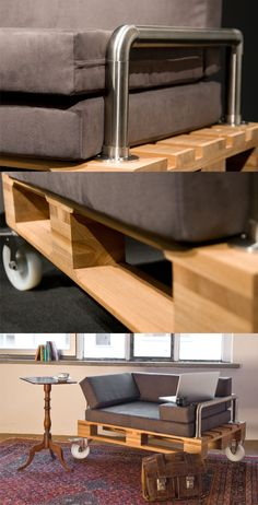 Ingenioso diseño para sofá con palé / Via www.antik-kombo.de