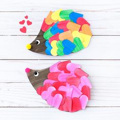 Just in time for Valentine's Day, kids of all ages will enjoy creating a darling heart hedgehog craft with paper hearts, paint, and pom poms. This easy kids craft includes a printable template, making it perfect for home or school.