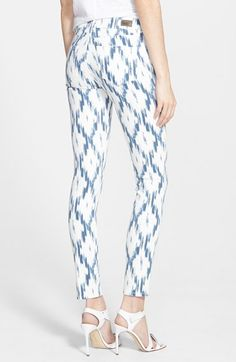 Paige Denim 'Verdugo' Ultra Skinny Jeans with blue ikat print | @nordstrom #nordstrom