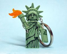 Statue of Liberty Key Chain Lego Statue Of Liberty, I Love America, Lego Figures, Stainless Steel Chain, Organza Bags, More Fun, Christmas Ornaments, Key Chain, Toys