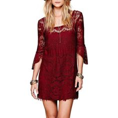Yoins Yoins Burgundy Lined Lace Dress (180 SEK) ❤ liked on Polyvore featuring dresses, burgundy, cocktail dresses, lace cami, red lace camisole, red dress, party dresses and red lace dress