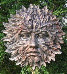 """Highly detailed greenman garden face that measures 11"""" x 10.5 """" x up to 1"""" thick. A stunning Green man from this mystic Isle, a wonderfully detailed piece based on the Hawthorn tree."""