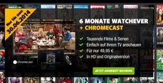 Watchever Aktion mit gratis Chromecast geht in nächste Runde! - http://apfeleimer.de/2014/06/watchever-aktion-mit-gratis-chromecast-geht-in-naechste-runde - Nur noch bis 30.06. – 6 Monate Watchever Aktion mit Chromecast Sonderangebot geht weiter! Die bereits hier vorgestellte Watchever Aktion mit dem kostenlosen Google Chromecast gehtweiter, während die3 für 1 Watchever Aktion (3 Monate zum Preis von einem Monat) mittlerweileeingestellt wurd...