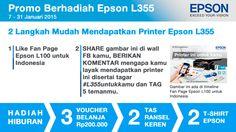 Cukup daftar, like, dan share, kamu bisa memenangkan printer Epson L355 senilai Rp2,9 juta. Ada juga hadiah hiburan berupa voucher belanja, tas, dan tshirt keren.