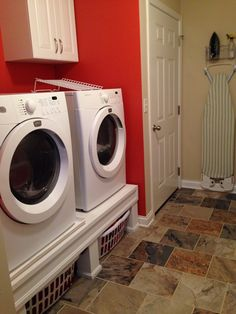 Washer and dryer platform is perfect to hide away your dirty laundry.