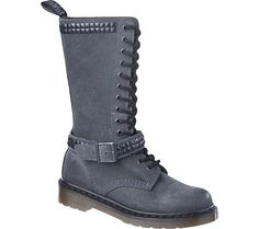 oh yeah!!!! Dr. Martens Janice Studded 14 Eye Boot - Charcoal Oiled Suede - Free Shipping & Return Shipping - Shoebuy.com