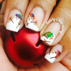Here I have Snowman nail art designs, ideas, trends & stickers of These winter nails are outstanding, give them a try. Holiday Nail Art, Winter Nail Art, Christmas Nail Art, Winter Nails, Santa Christmas, Nail Art Designs, Winter Nail Designs, Christmas Nail Designs, Fancy Nails