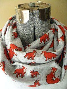 Fox Infinity Scarf- jersey knit, heather grey, white, orange, animal, scarf, jersey knit, circle scarf,fall, winter, free shipping