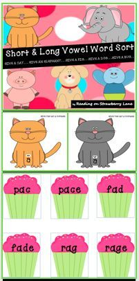 FREEBIE-This packet is a hands-on FUN approach to learning and practicing short. - Real Time - Diet, Exercise, Fitness, Finance You for Healthy articles ideas Kindergarten Reading Activities, Phonics Reading, Reading Resources, Teacher Resources, Teaching Phonics, Interactive Activities, Kindergarten Teachers, Classroom Resources, Long Vowels