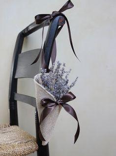 Burlap Cone with Lavender & Bow Aisle Décor Idea Rustic Wedding, Our Wedding, Dream Wedding, Wedding Ideas, Wedding Ceremony Chairs, Burlap Chair, Green Hydrangea, Decoration, Twine