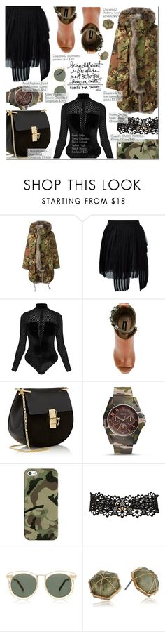 """Camille"" by nindi-wijaya ❤ liked on Polyvore featuring Dsquared2, Chloé, FOSSIL, Casetify, Frasier Sterling, Karen Walker and Panacea"