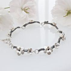 Cherry Blossom Bracelet-flower bracelet- flower chain bracelet-silver flower bracelet-silver cherry blossom bracelet-floral bracelet