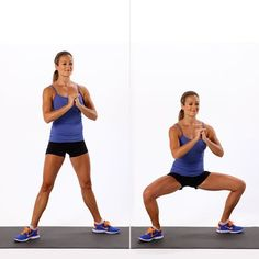 The Busy Girl's 5-Minute Workout: Sumo Squats. Get fit REALLY fast with this super speedy workout routine. #SelfMagazine