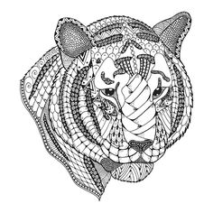 Tiger head zentangle stylized. Freehand pencil. on Behance