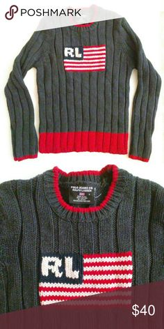 Polo Ralph Lauren American Flag Sweater USA Small Polo Ralph Lauren Vintage American Flag Sweater USA  Womens Small  No flaws, smoke-free and pet-free. Ralph Lauren Sweaters Crew & Scoop Necks