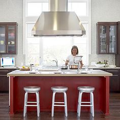 || Red kitchen island