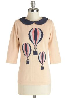 Sold to Nancy------ SUPER limited! brand new with tags.... love it, just not sure about the peter pan collar on me. UK 16 = US 12. --------------In My Beautiful Balloon Top by Sugarhill Boutique - Pink, Blue, Novelty Print, Peter Pan Collar, Casual, 3/4 Sleeve, Mid-length, Cotton, Kni...