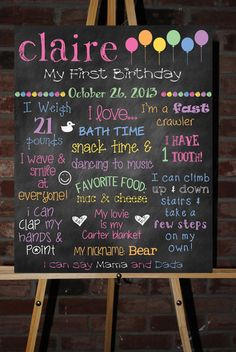 Custom Printable First Birthday Board Poster by ChalkingItUpBoards, $30.00