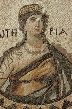 Detail of mosaic from the floor of the 5th-century Bath of Apolausis