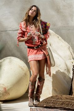 Santorini Embroidered Tunic Dress - Burnt Orange • Spell & The Gypsy Collective - Australia
