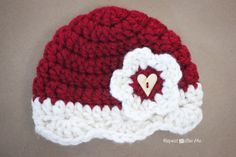 Repeat Crafter Me: Crochet Valentine Hat Pattern